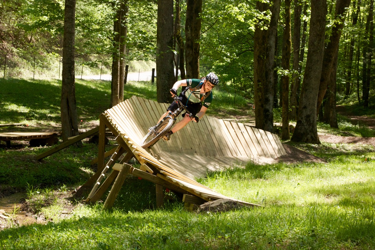 Allen rides the wall in the skills area at Mulberry Gap after the ride.