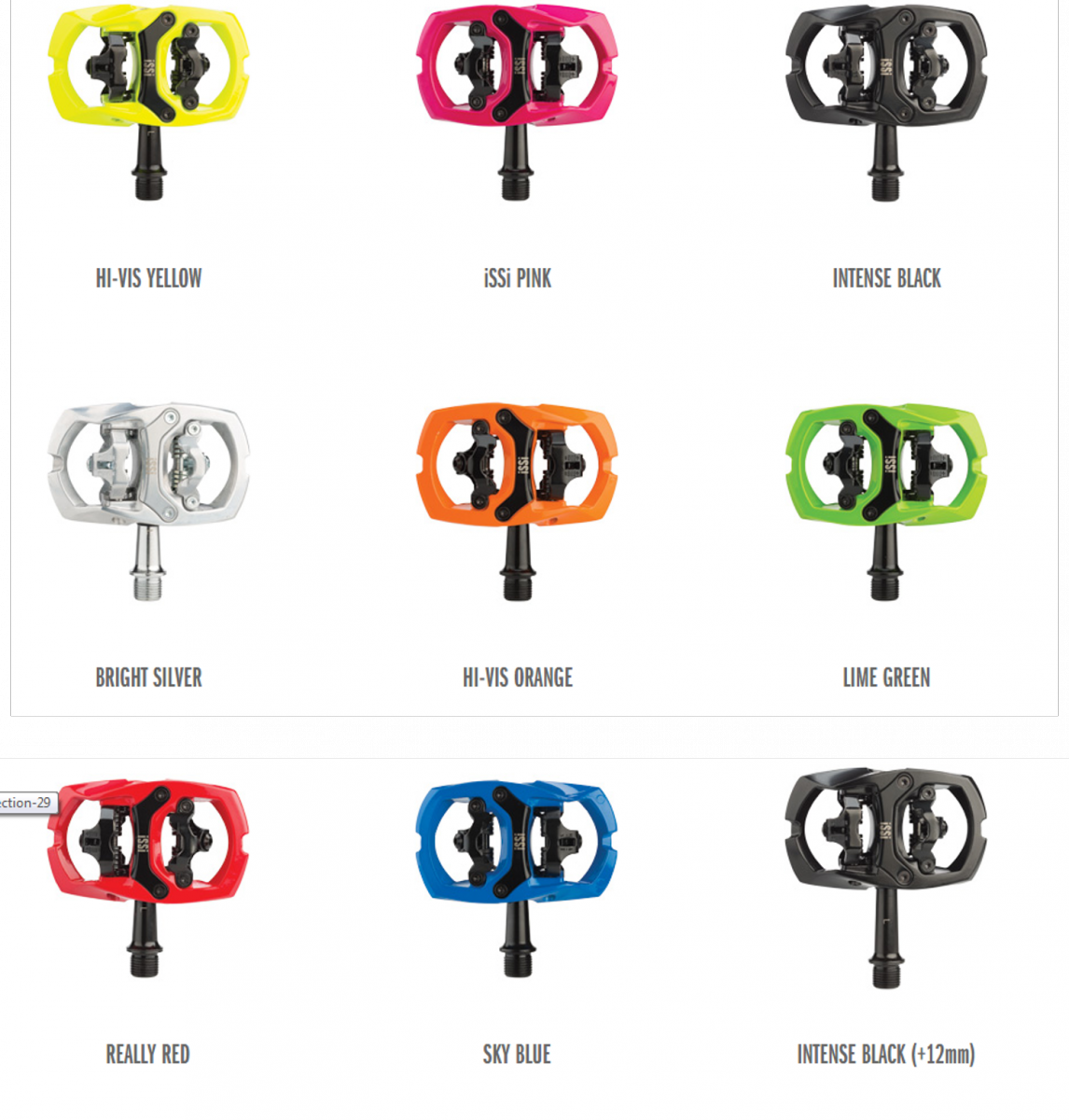 The iSSI Trail pedal comes in many colors for those who want to add a little customization to their rig.