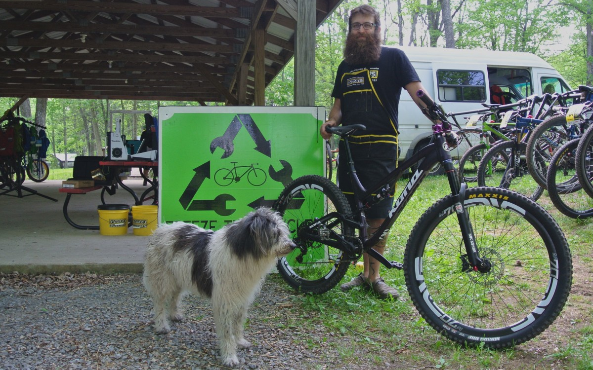 Justin from Freeze Thaw Cycles in State College, PA with his dog Bosco and his badass Kona Process 111. I picked up some more CO2 cartridges from his extremely well stocked support station at camp.