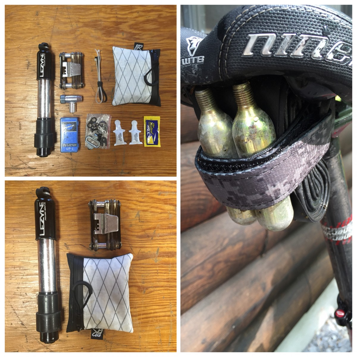 Here's what I carried in my jersey pockets. Everything except the pump and multitool fit in the pouch. A tube and CO2 cartridges were strapped to my saddle.