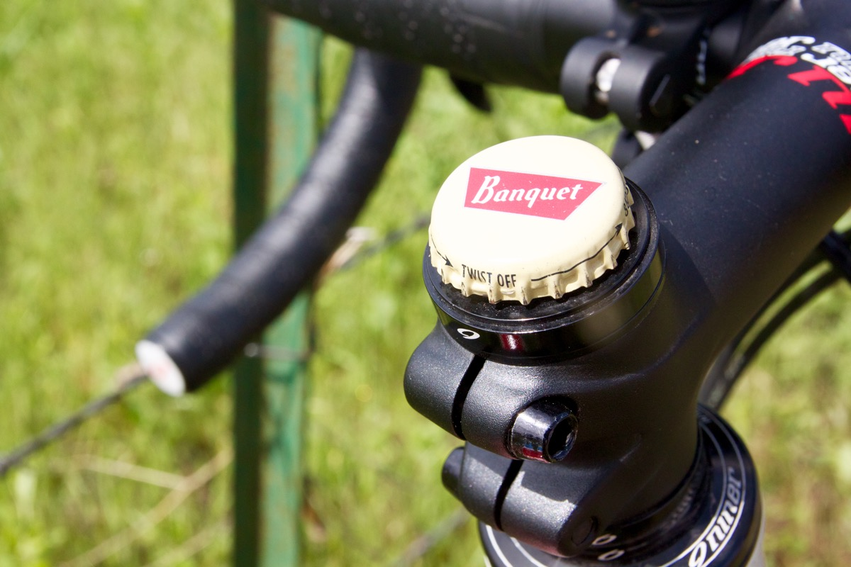Not many road bikers put bottle cap stem caps on their bikes.