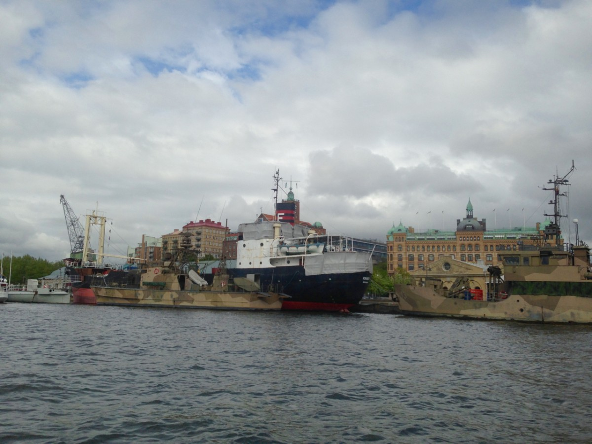 View of some of the ships in the Maritime Museum, as seen from the Paddan Boat Tour. Photo: Greg Heil.