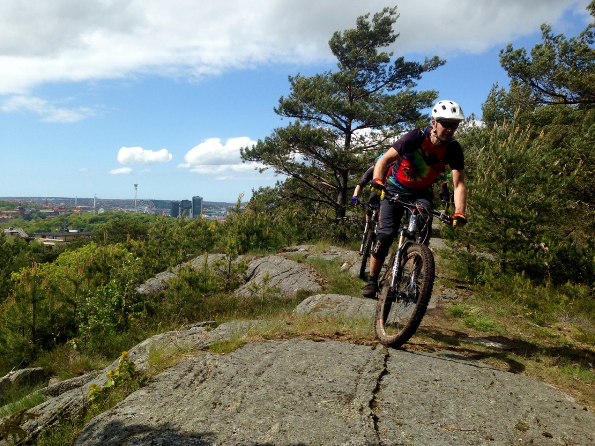 Riding the Slickrocks Trail with Gothia Towers and Liseberg Amusement Park in the background. Photo: Greg Heil.