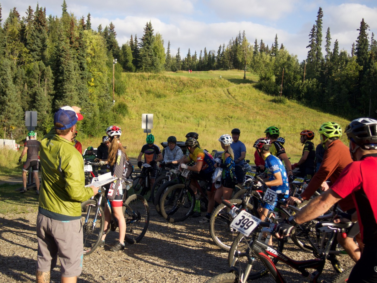 """""""Now there is at least one bull moose on the trail today, so make sure your bells are on."""" Typical advice for an Alaskan pre-race meeting"""