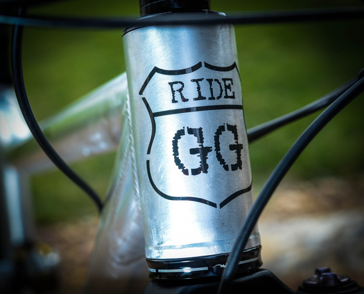 The GG badge adorns the universal headtube, designed to accept just about every current fork and headset combo there is