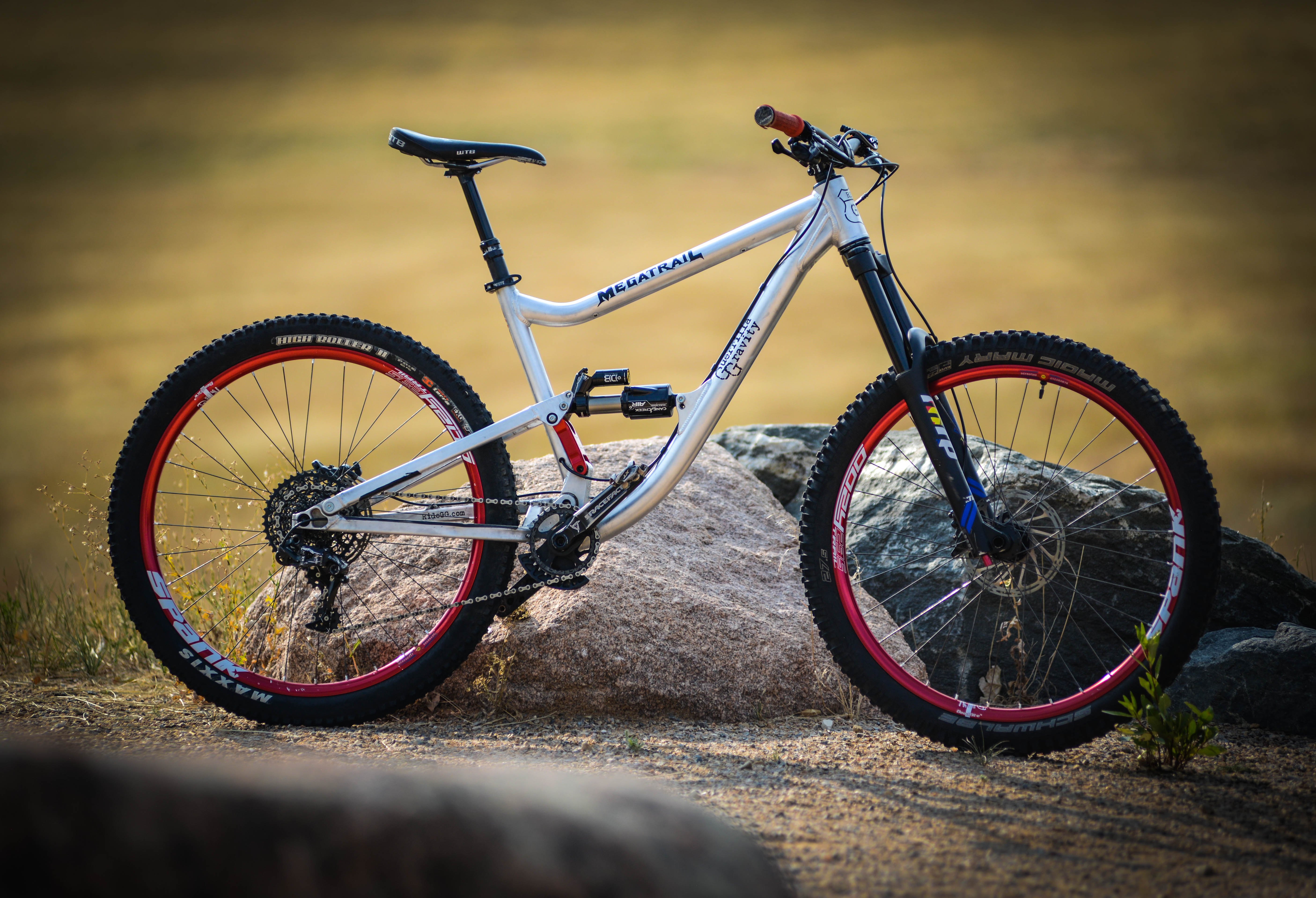 """Pictured here in """"Gravity Mode"""", this bike can quickly be configured for pedally rides, or as a mini-downhill ride"""