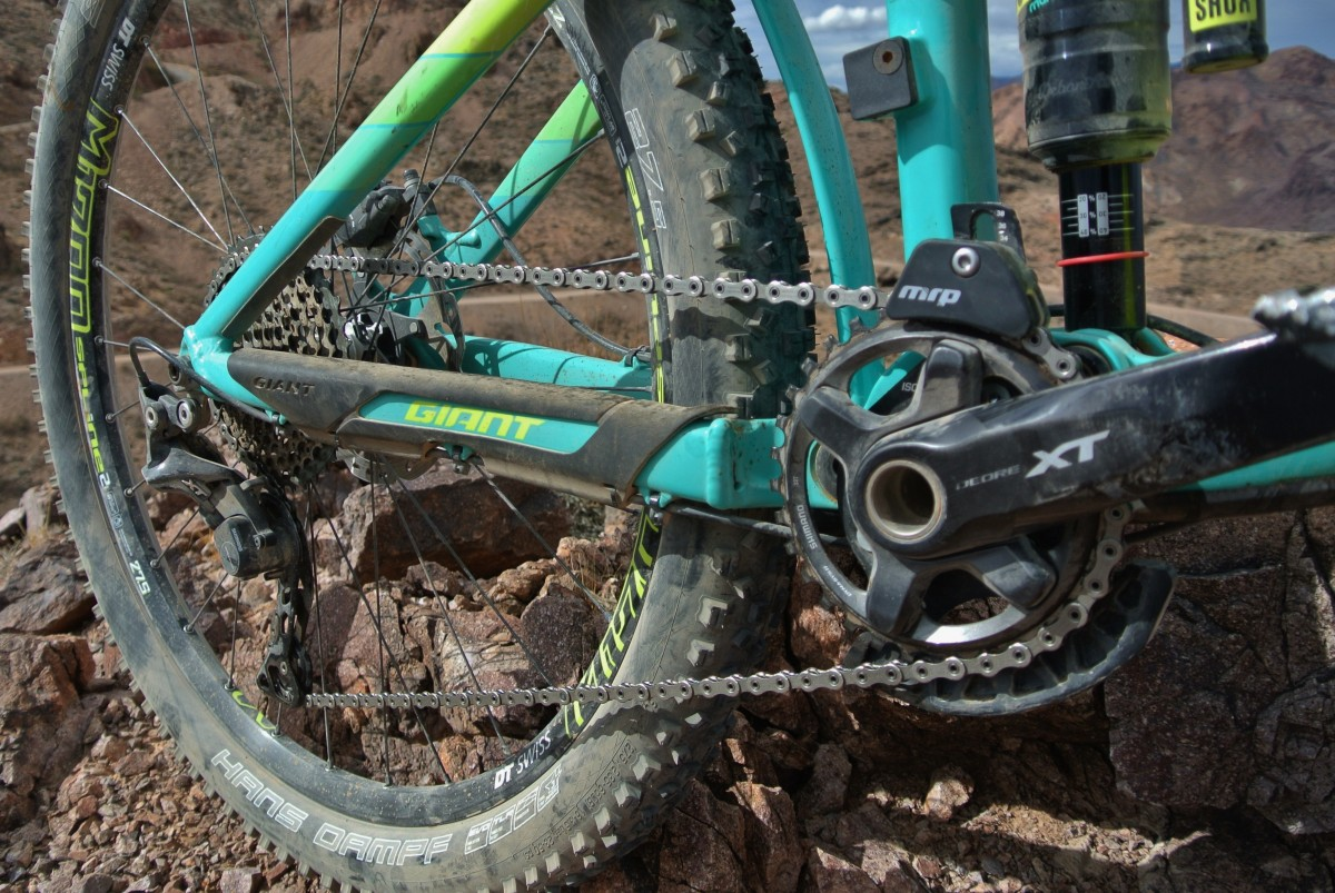 Shimano XT 1x11 drivetrain (including cranks and ring). An MRP chain guide is a nod to this bikes intended enduro racing purpose.