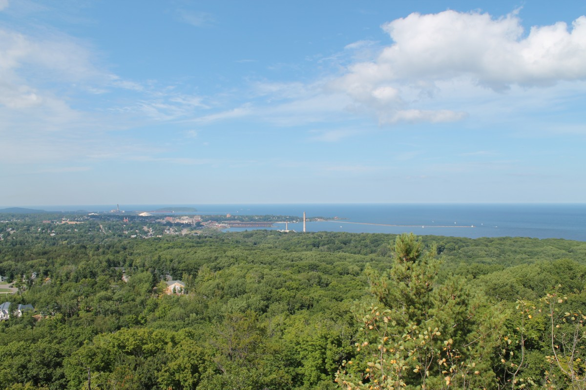 The view of Marquette and Lake Michigan from the top of the Mt Marquette trail.