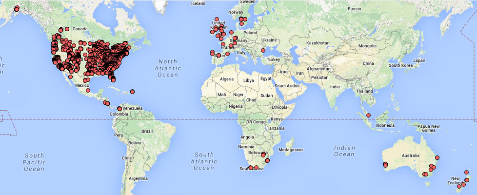 Map showing the more than 4,000 trail check-ins worldwide during the contest period.
