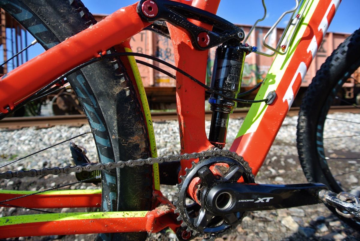 Shimano XT cranks and RockShox Monarch shock
