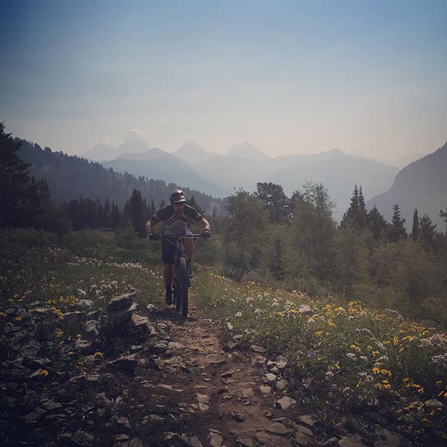 Riding the Buffalo Soldier trail with the Tetons barely visible through the smoke from wildfires further west in Idaho. Photo: Mitch Prissel