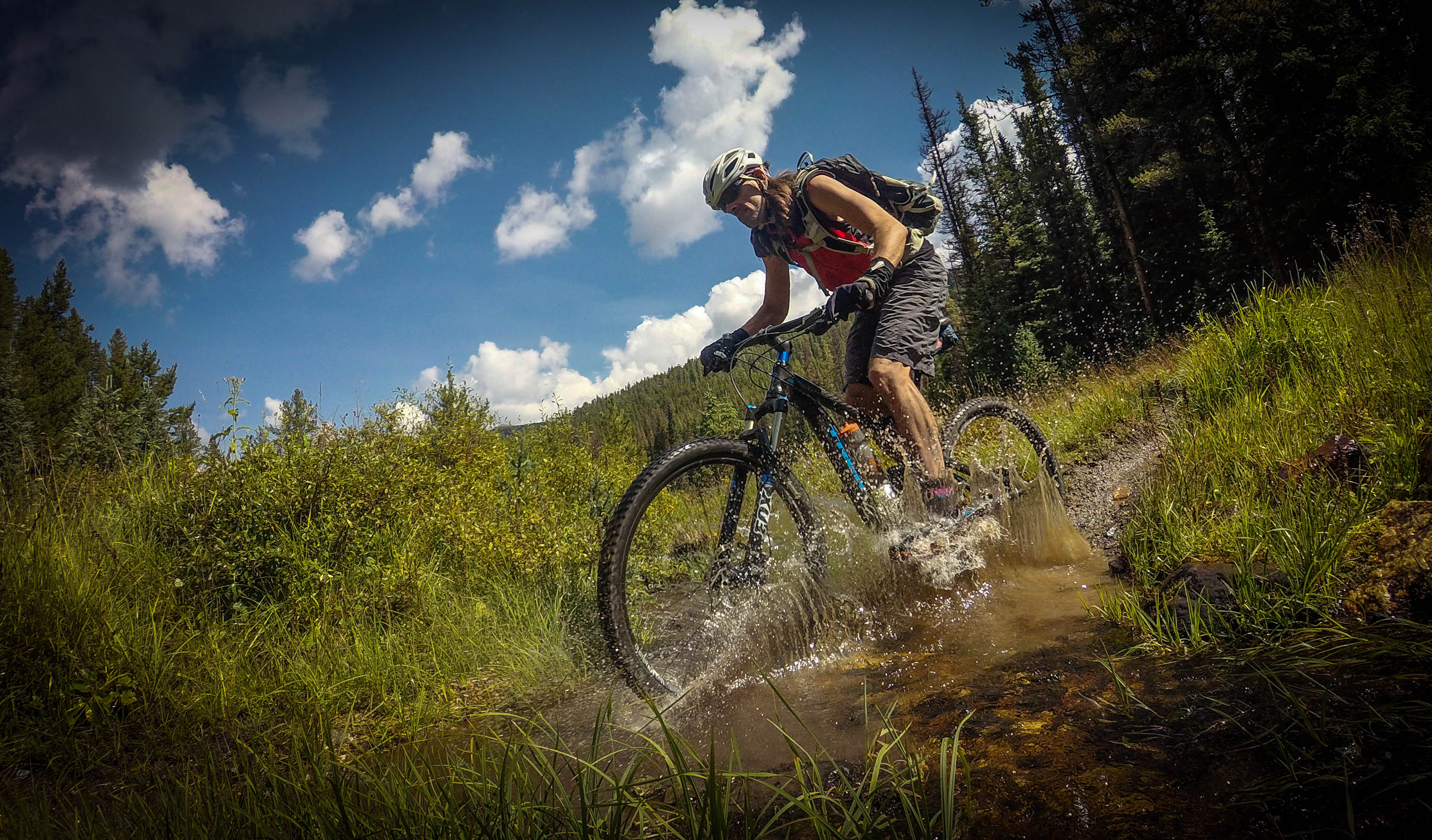 A photo using interval timer at 12.4MP of Singletracks owner Jeff Barber at Agate Creek. This photo is crystal clear, but other photos during the same ride were not