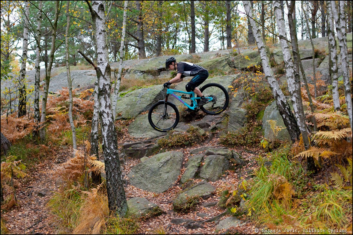 One fun and tricky descent at the Slickrocks trail.