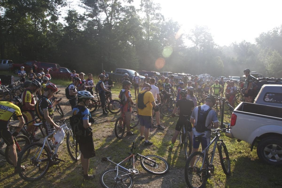 Riders gathering for the Dirty Thirty.