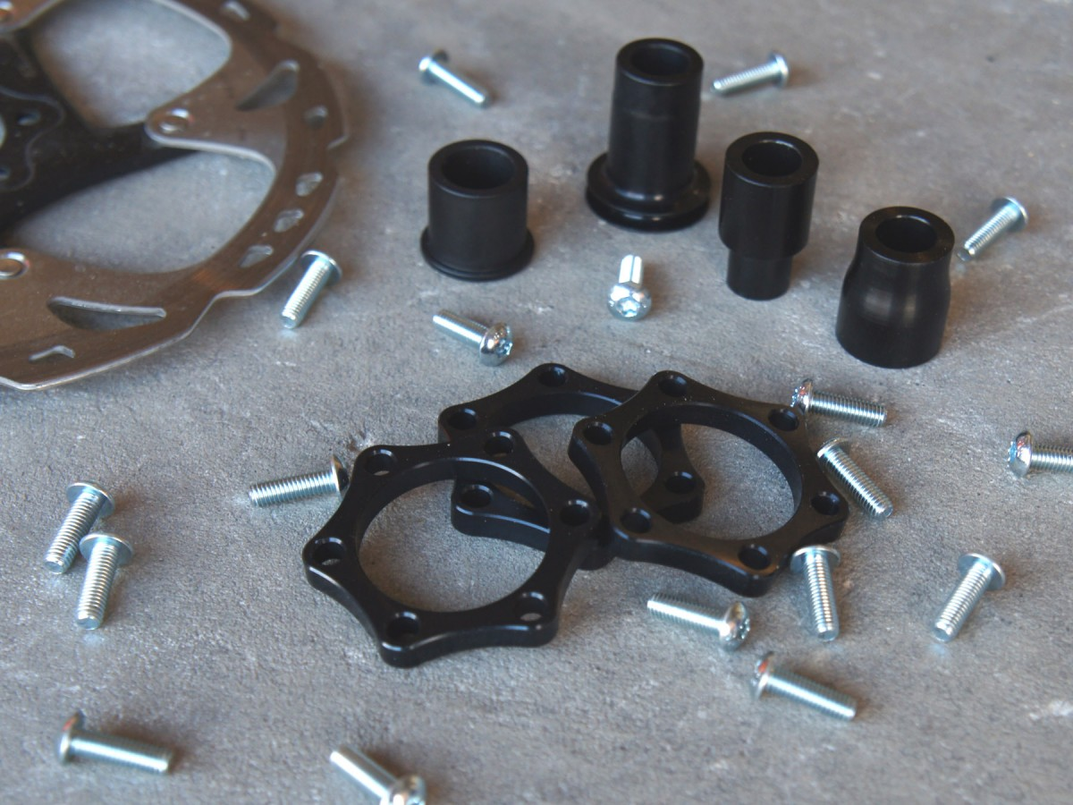 Various end caps, rotor spacer, and longer bolts