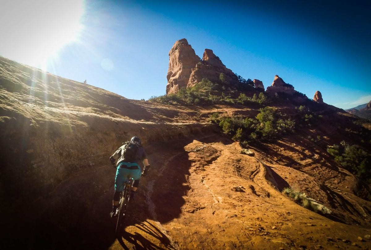 The scenery can't be beat on the Hangover Trail in Sedona, AZ, but you dare not take your eyes off the trail for long! (photo: Michael Paul)