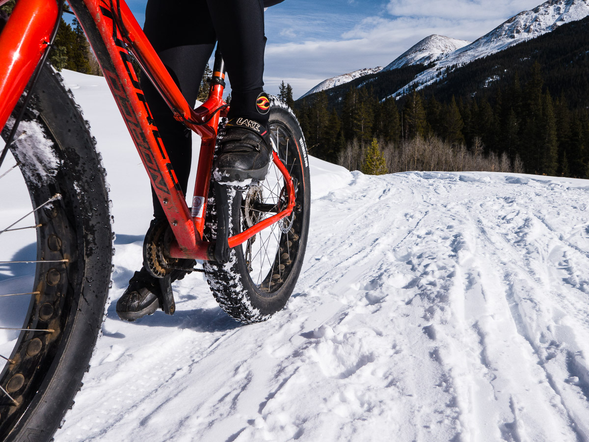 This trail was packed by a snowmobile, snowshoers and cross-country skiers