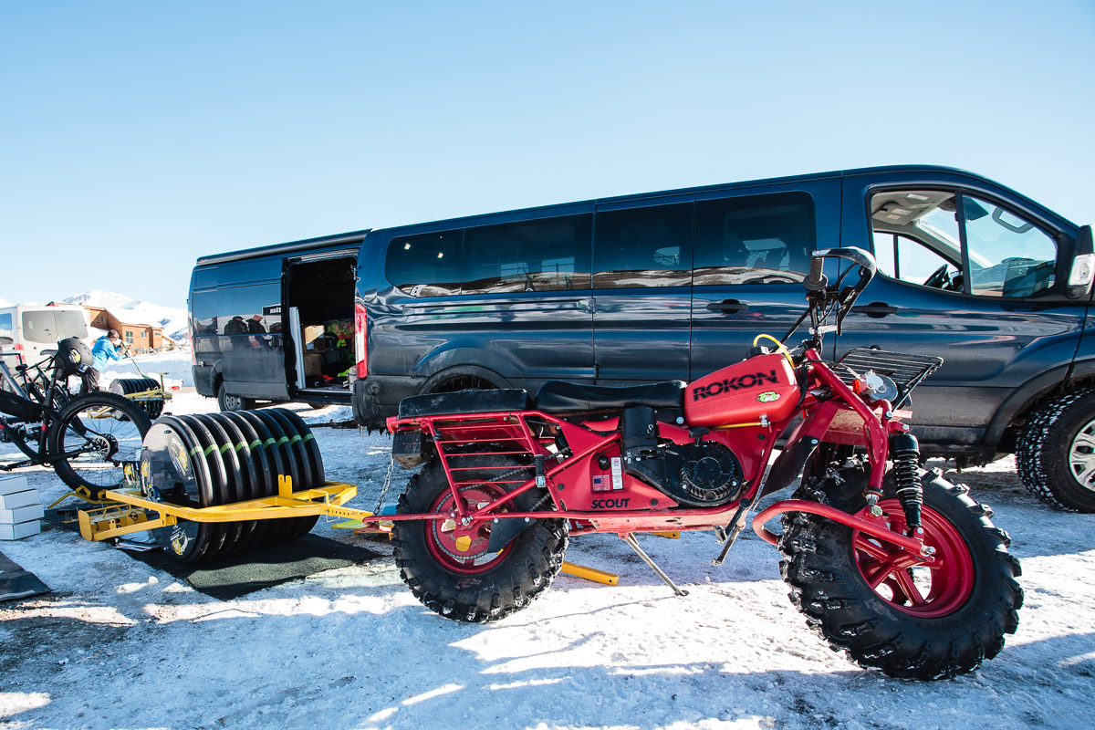 Wildcat groomer pulled by Rokon motorcycle