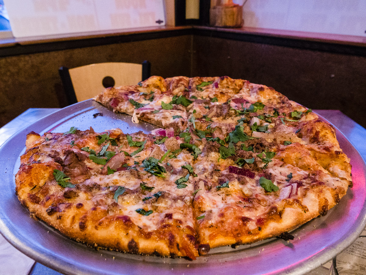 Jamaican BBQ Beef pizza at Wildlife Brewing & Pizza