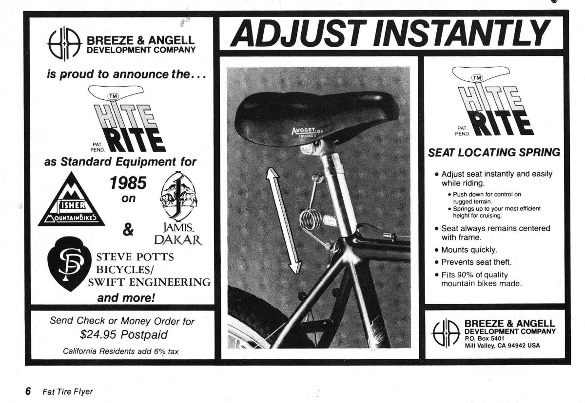 Hite Rite ad from Fat Tire Flyer ca. 1985