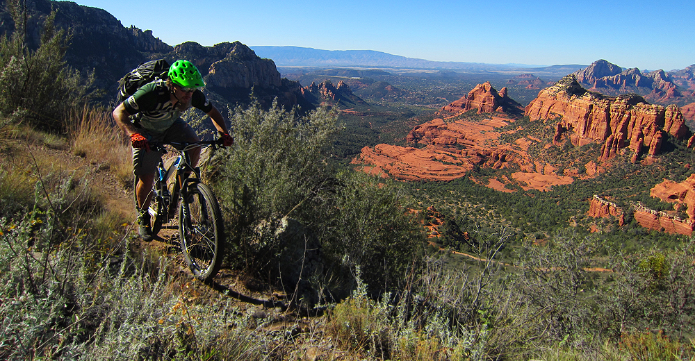 Schnebly Hill Trail, with Hangover in the background. Rider: Greg Heil. Photo: Matt Mcfee/Hermosa Tours