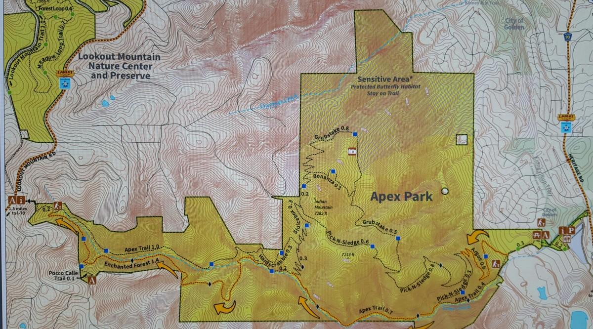 Apex Trail Map, courtesy jeffco.com