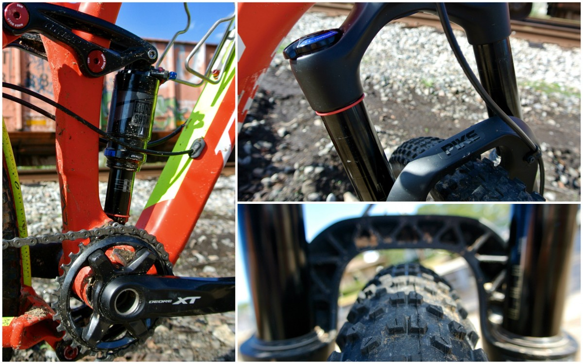 The simple but effective RockShox Monarch and a Boost-spaced Pike