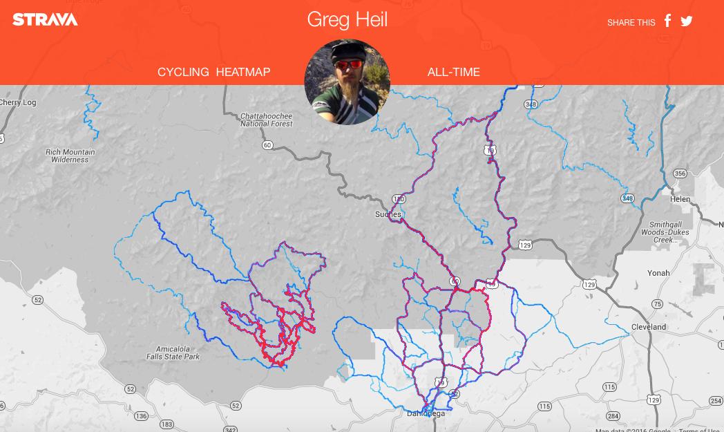 Greg's personal heatmap near Dahlonega, GA.