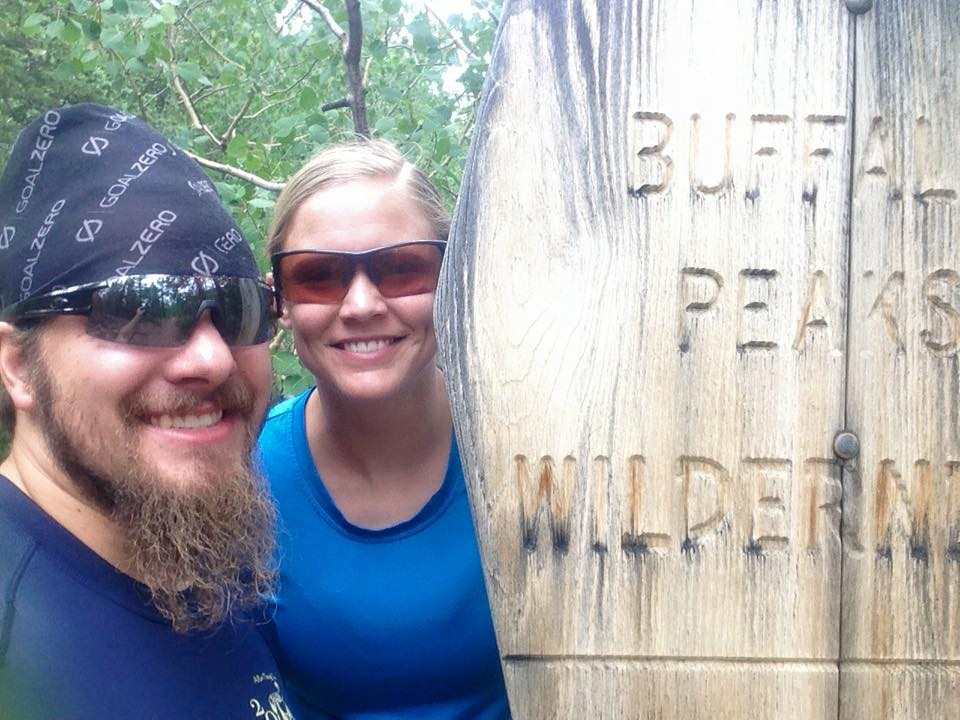 Trail running in the Buffalo Peaks Wilderness with my wife, Summer.