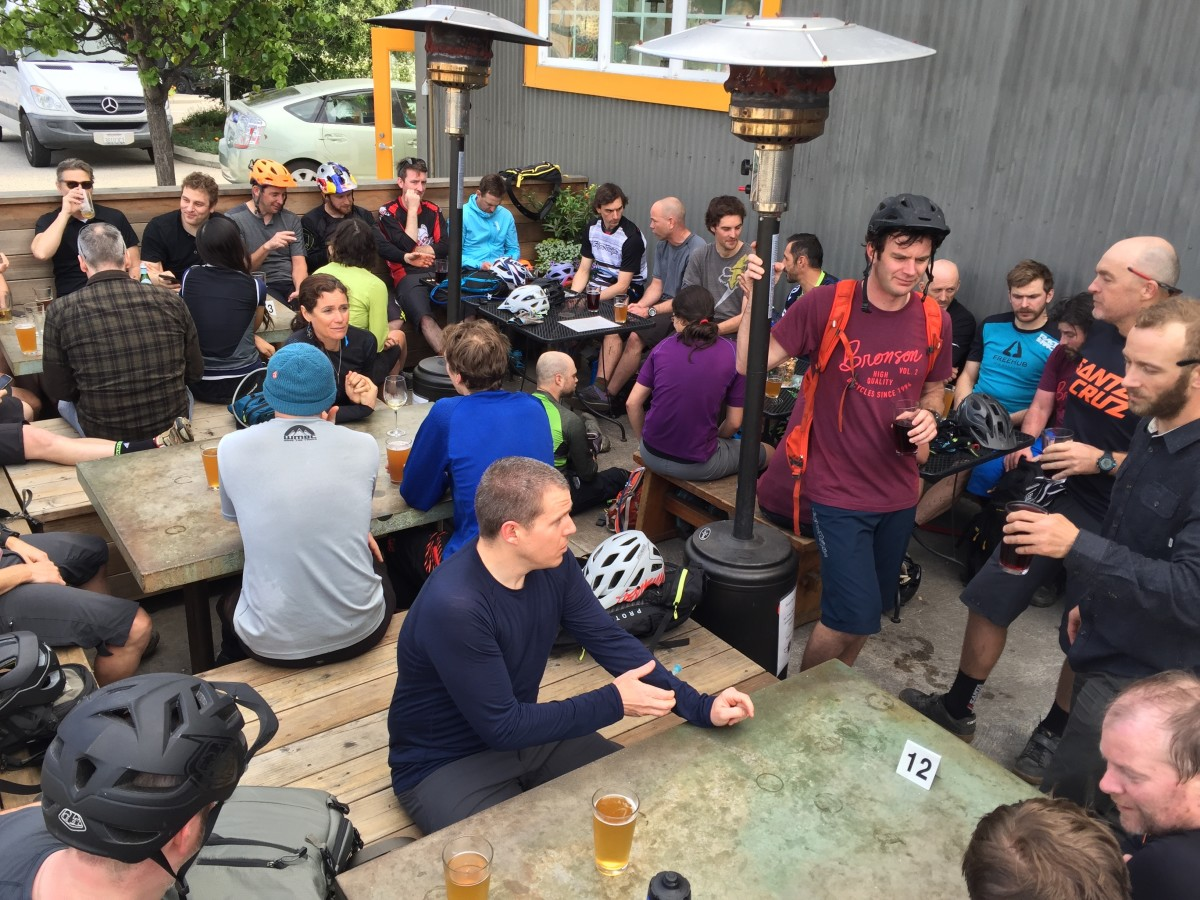 Post ride brews; anyone spot the famous riders (and maybe a certain finger from another publication)