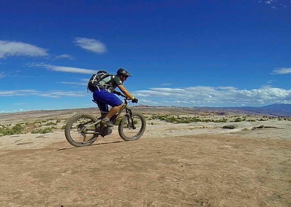 The author gaining some perspective aboard an e-fat bike at Outerbike 2015.
