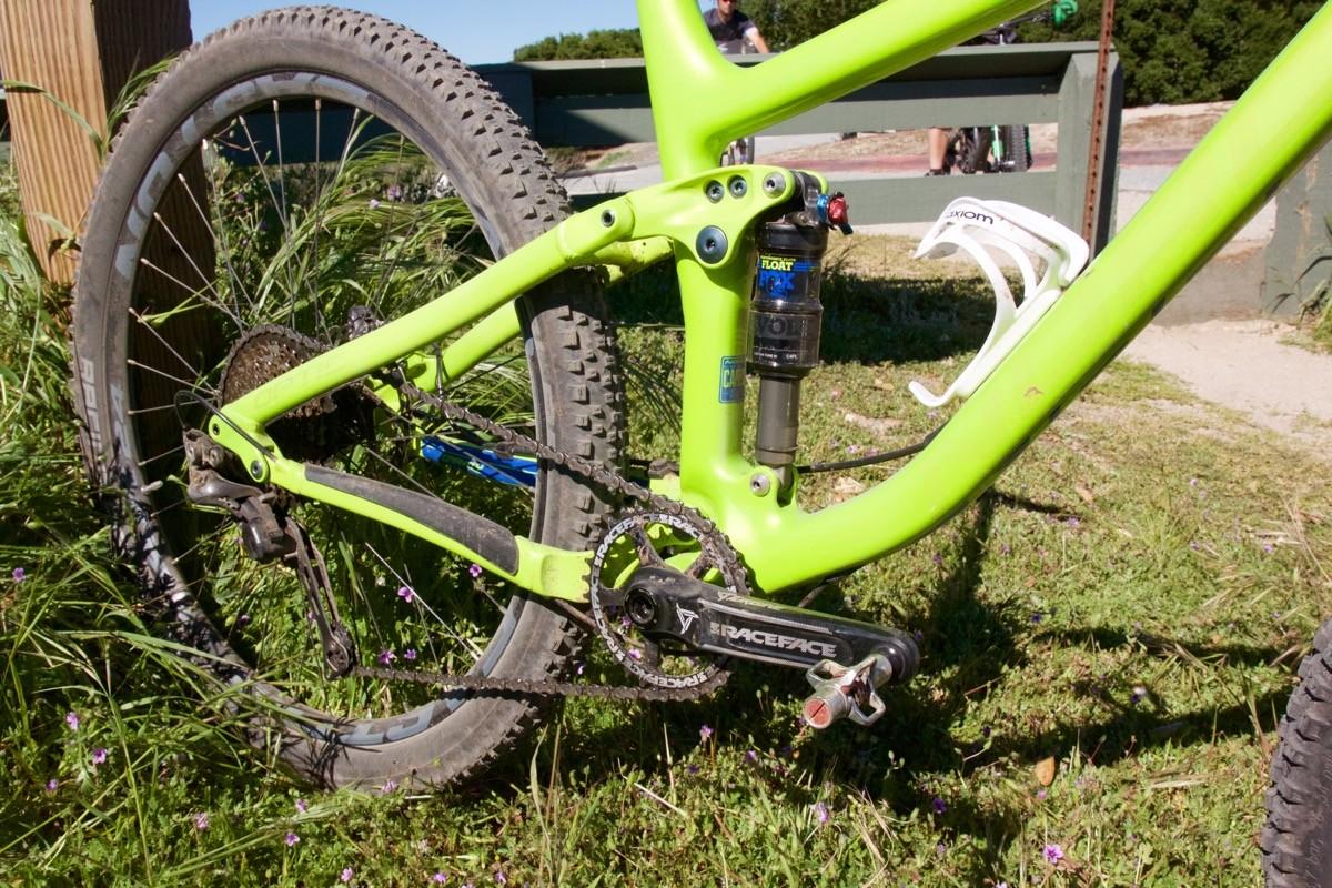 Fox suspension, Race Face cranks, Easton wheels, Shimano XT drivetrain and brakes