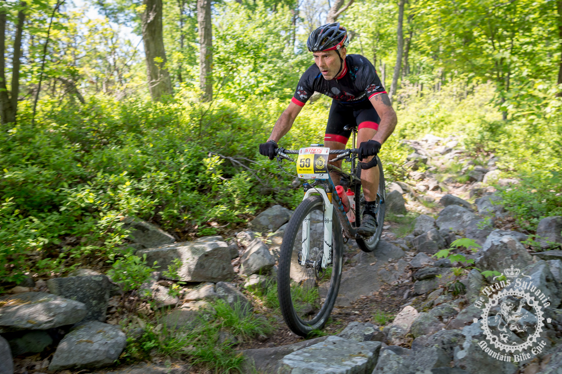 Stage 2 singlespeed winner Mike Montalbano (Race 4 Rescues) on Tussey Mountain. TSEpic Media Team