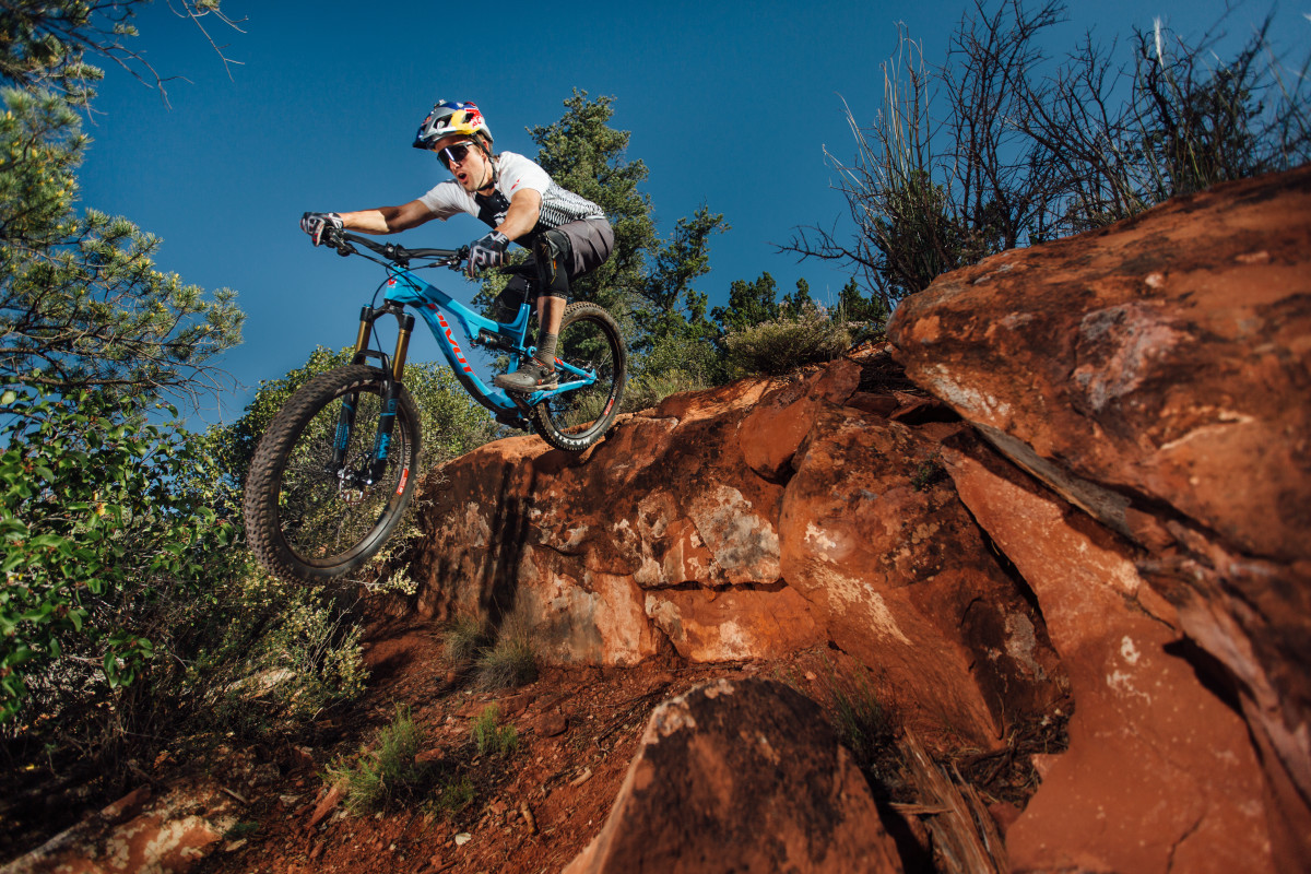 Aaron Chase aboard the new Pivot Switchblade (photo: Lear Miller)
