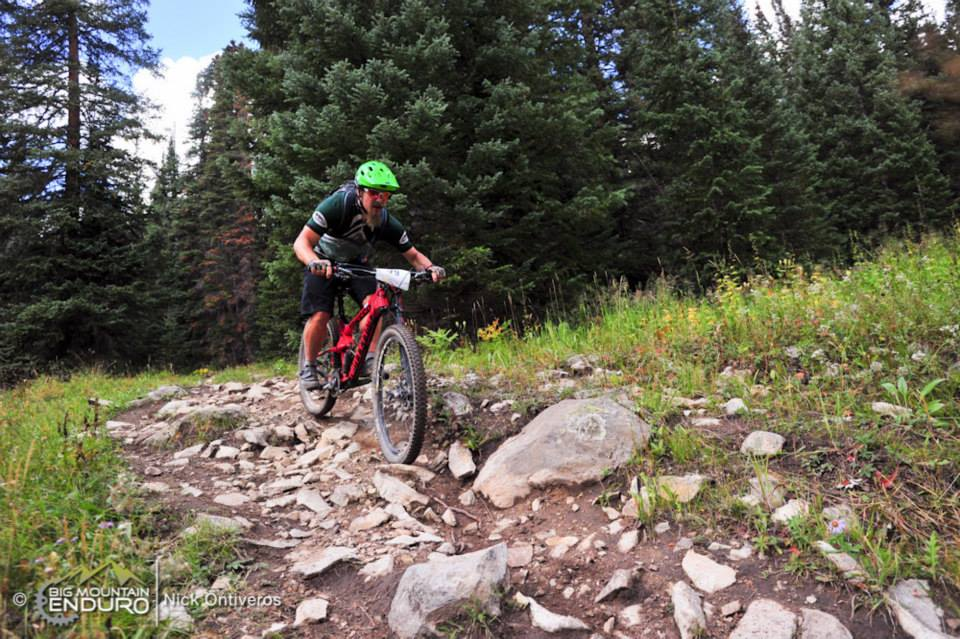 Pinning it down my favorite type of trail during the Crested Butte Ultra Enduro: rocky, gnarly, backcountry singletrack. Photo: Nick Ontiveros / BME