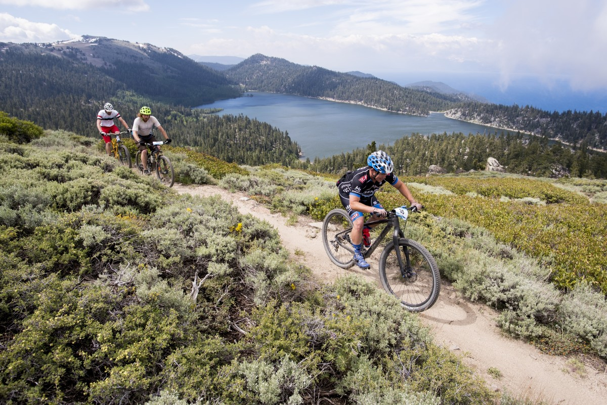 Tahoe Rim Trail at Marlette Lake,Lake Tahoe in the background. Photo by Brian Leddy.