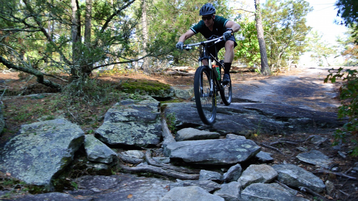 Riding the granite side of the Georgia International Horse Park in Conyers, site of the 1996 Olympics MTB race