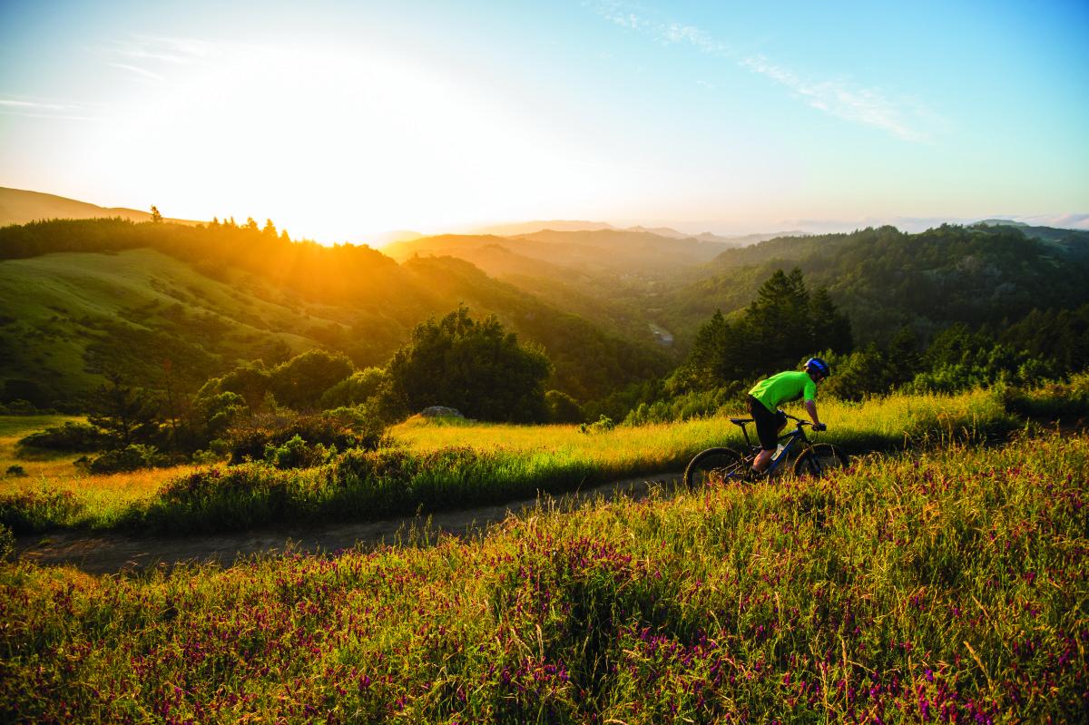 Riding the Marin Hawk Hill in Marin County, CA.