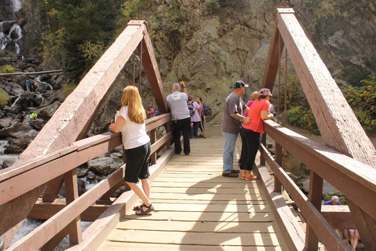 Photo from the ultra-congested Fish Creek Falls trail in Steamboat Springs, CO. And now, it's not bikes causing the congestion here--it's hikers.