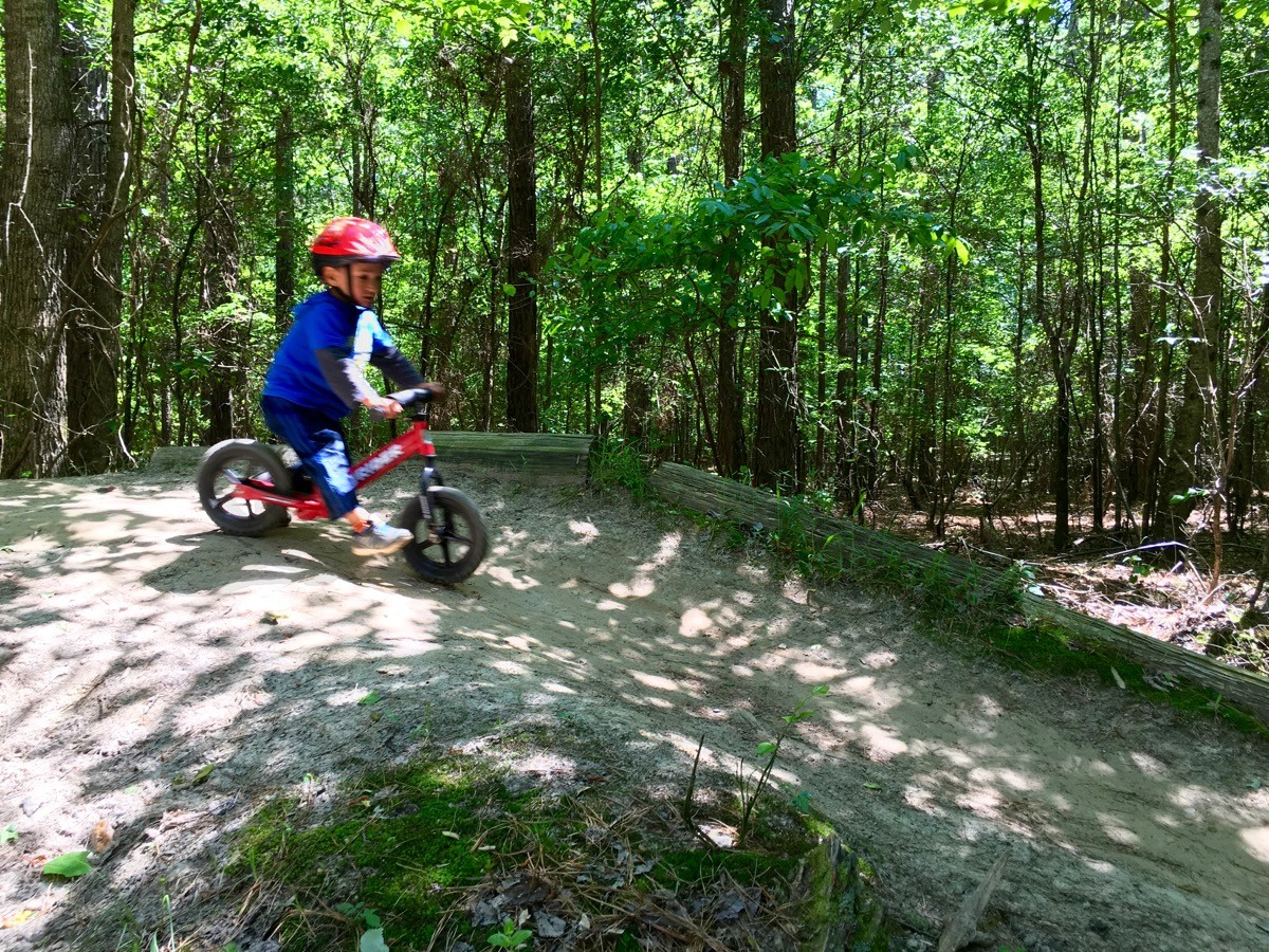 My 3-year-old son Reed riding the skills area at Blankets Creek.