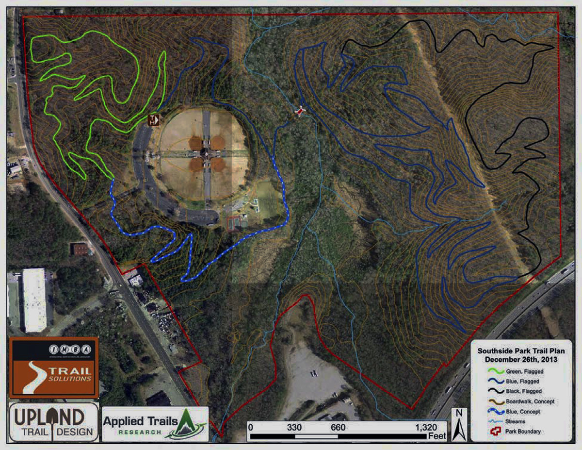 Conceptual trail plan for Southside Sports Complex