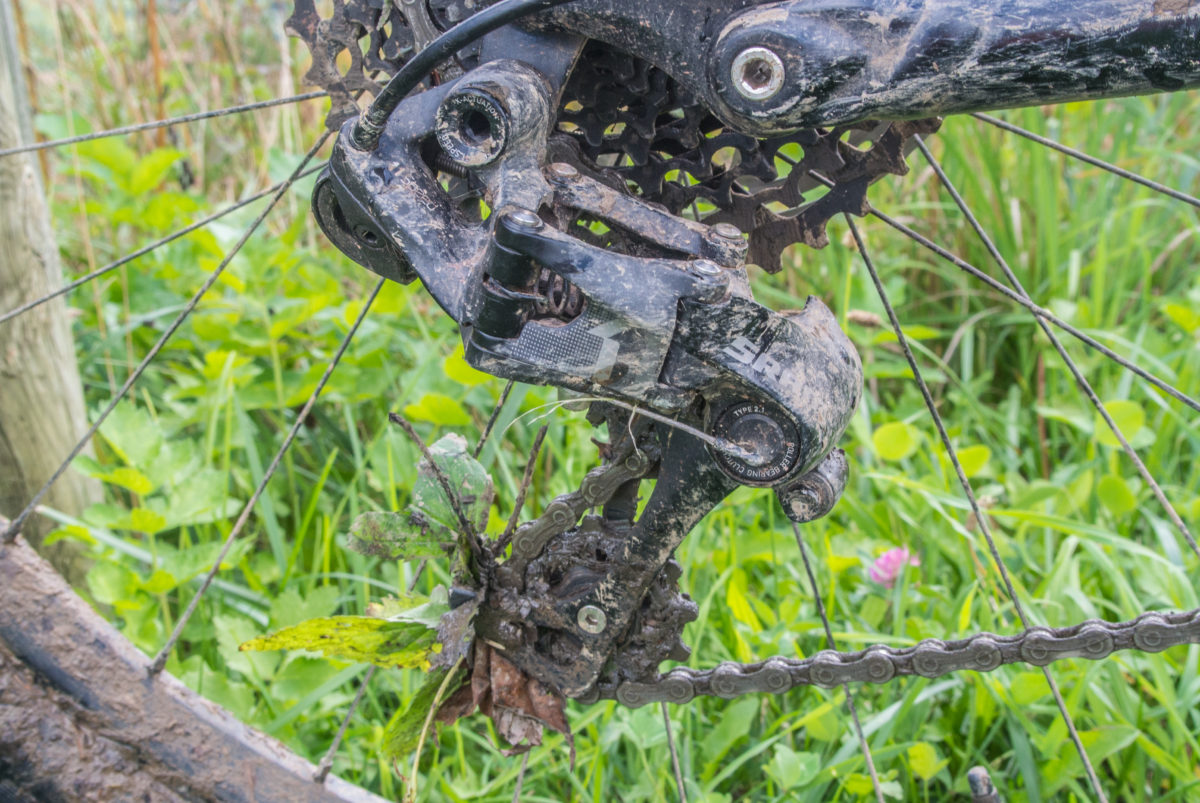Doing some gardening with the rear derailleur (photo: Aaron Chamberlain)