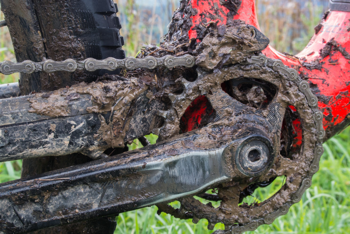 Underneath that mud is a set of RaceFace Aeffect cranks (photo: Aaron Chamberlain)