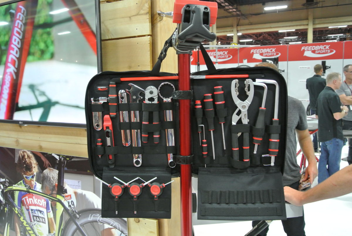 The Team Edition kit straps to a stand to keep the tools within arm's reach