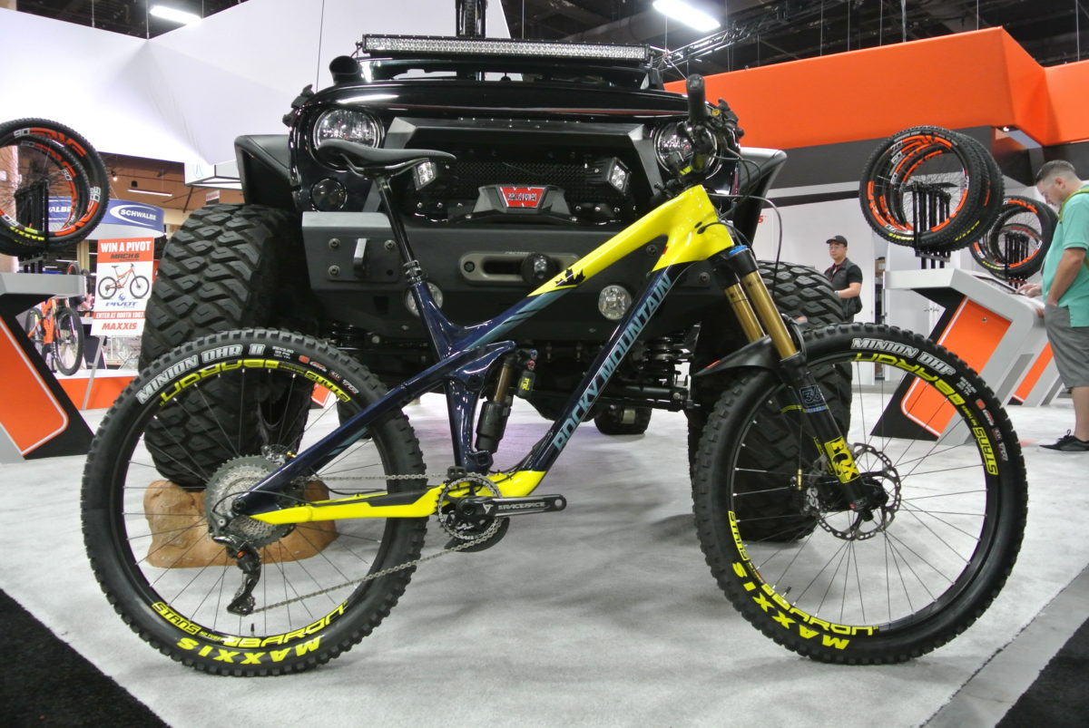 "The new Rocky Mountain Slayer equipped with 26x2.8"" Maxxis Minions"