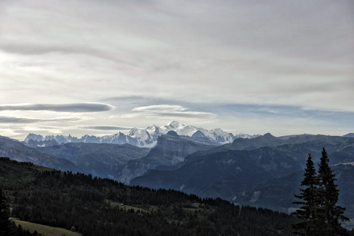 15,777-foot Mont Blanc off in the distance, the highest peak in the Alps