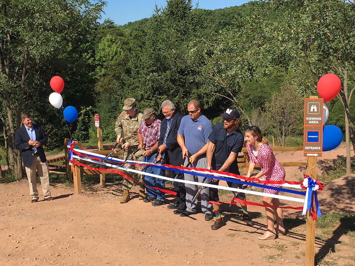 Ribbon cutting for the Raystown Mountain Bike Skills Park.