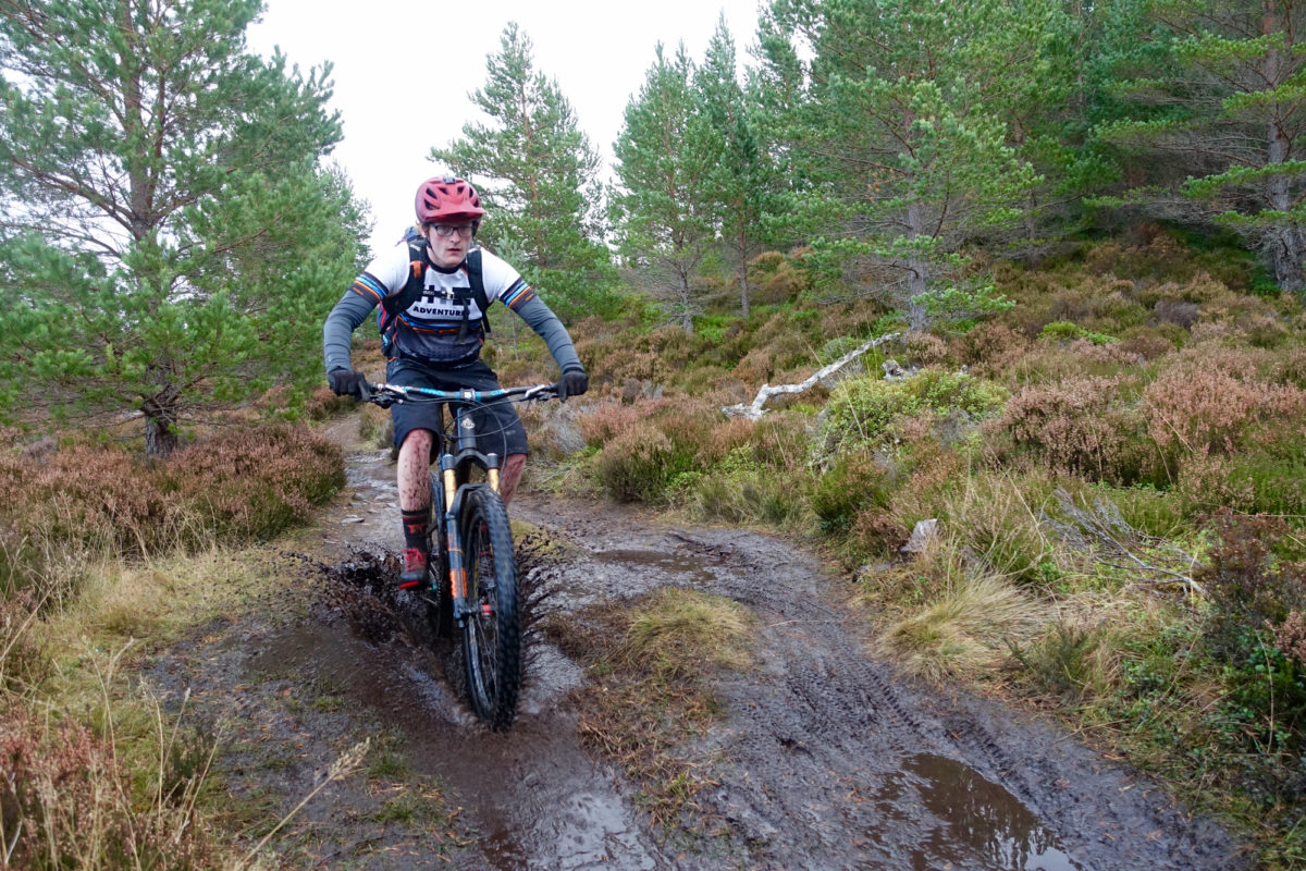 Splashing through mud--welcome to Scotland! Photo: Greg Heil