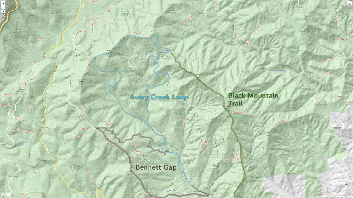 The light blue highlighted route is what Wes describes. Map: Neotreks/Singletracks.