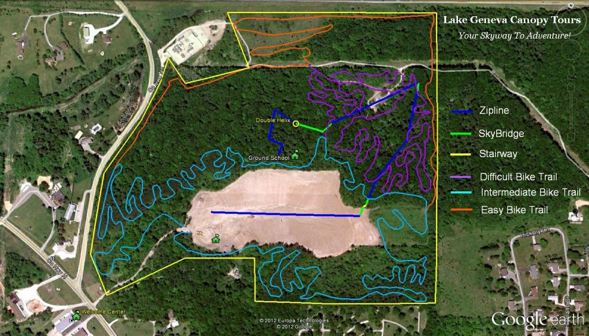 Mountain Bike Trails At Lake Geneva Canopy Tours In Wisconsin